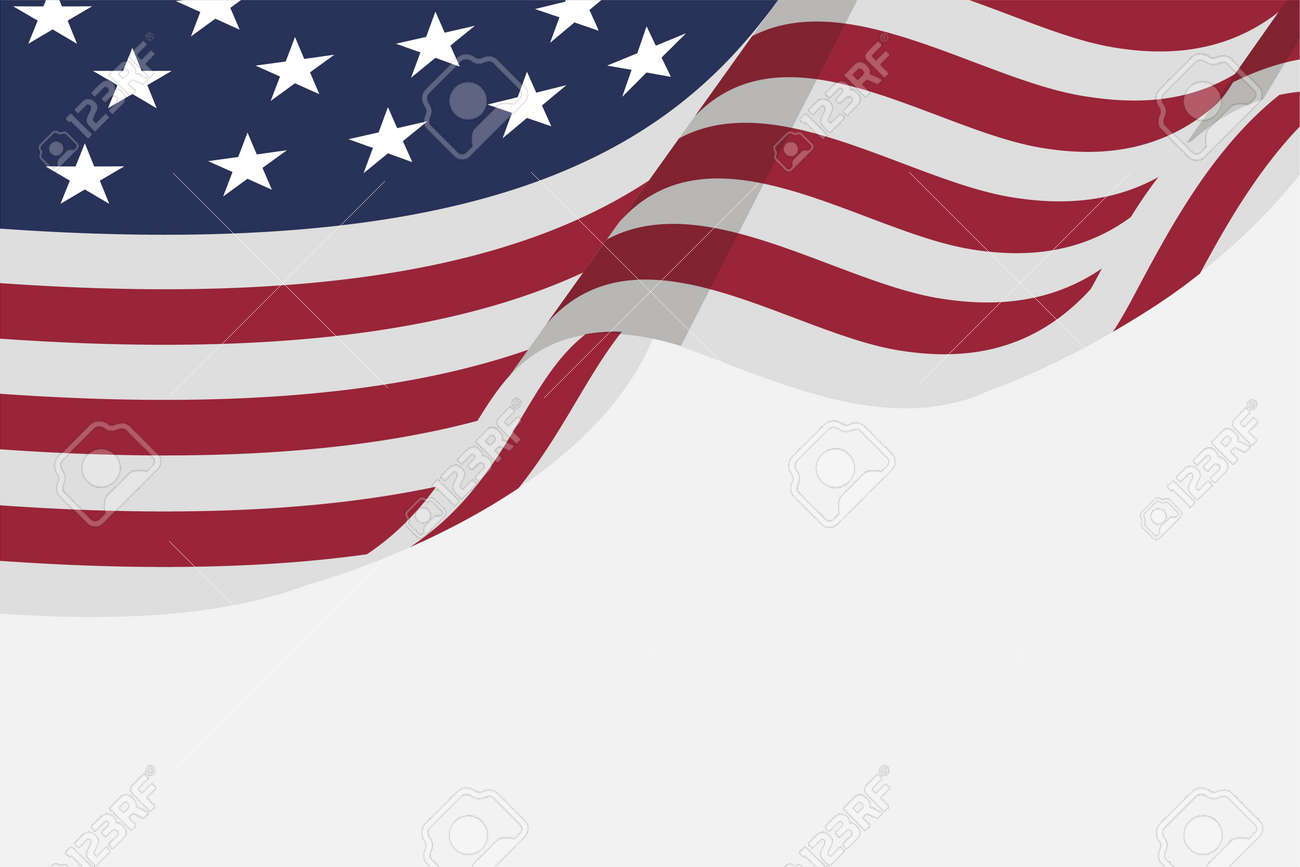 Isolated Flat American Flag For Independence Day Background