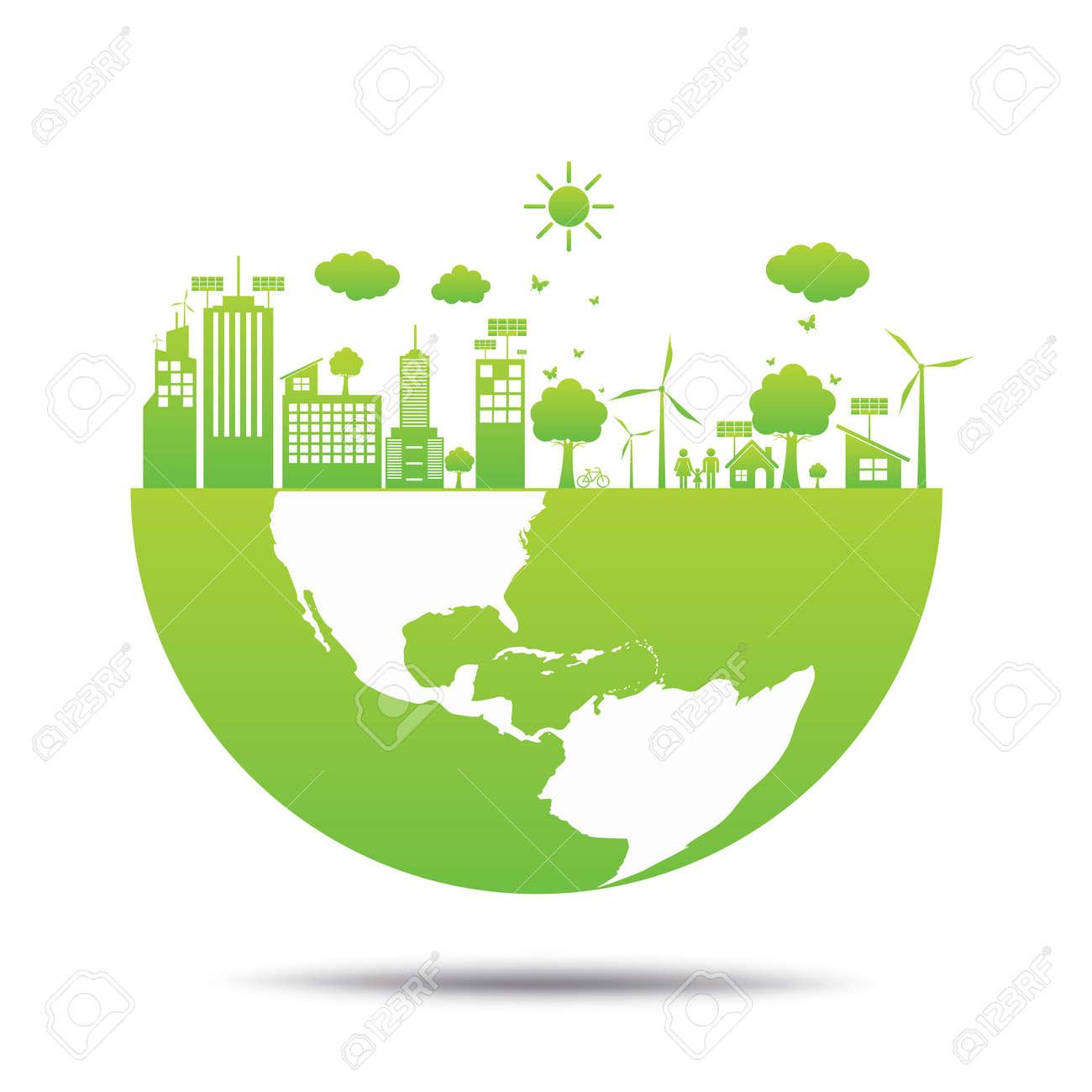 2d03833b315c0 Mundo Verde Ecología Ciudad Ecológico. Ilustraciones Vectoriales ...