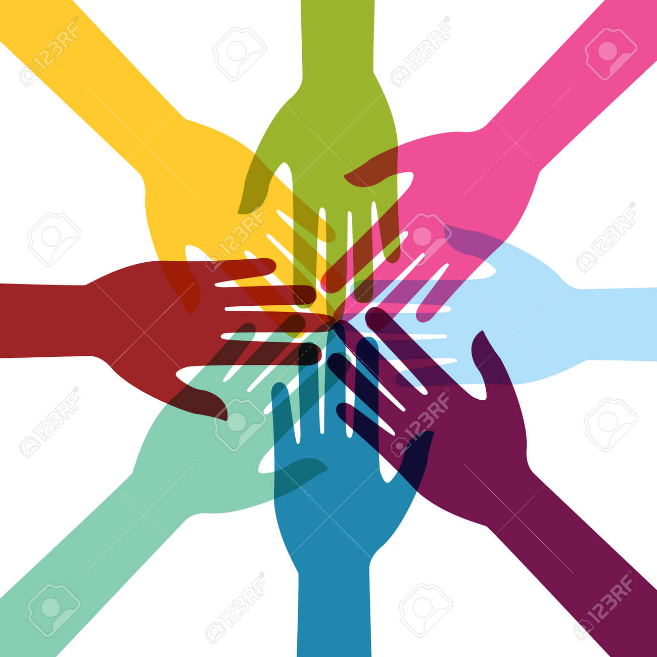 Hand Colorful Creative Connection with Teamwork - 149189266