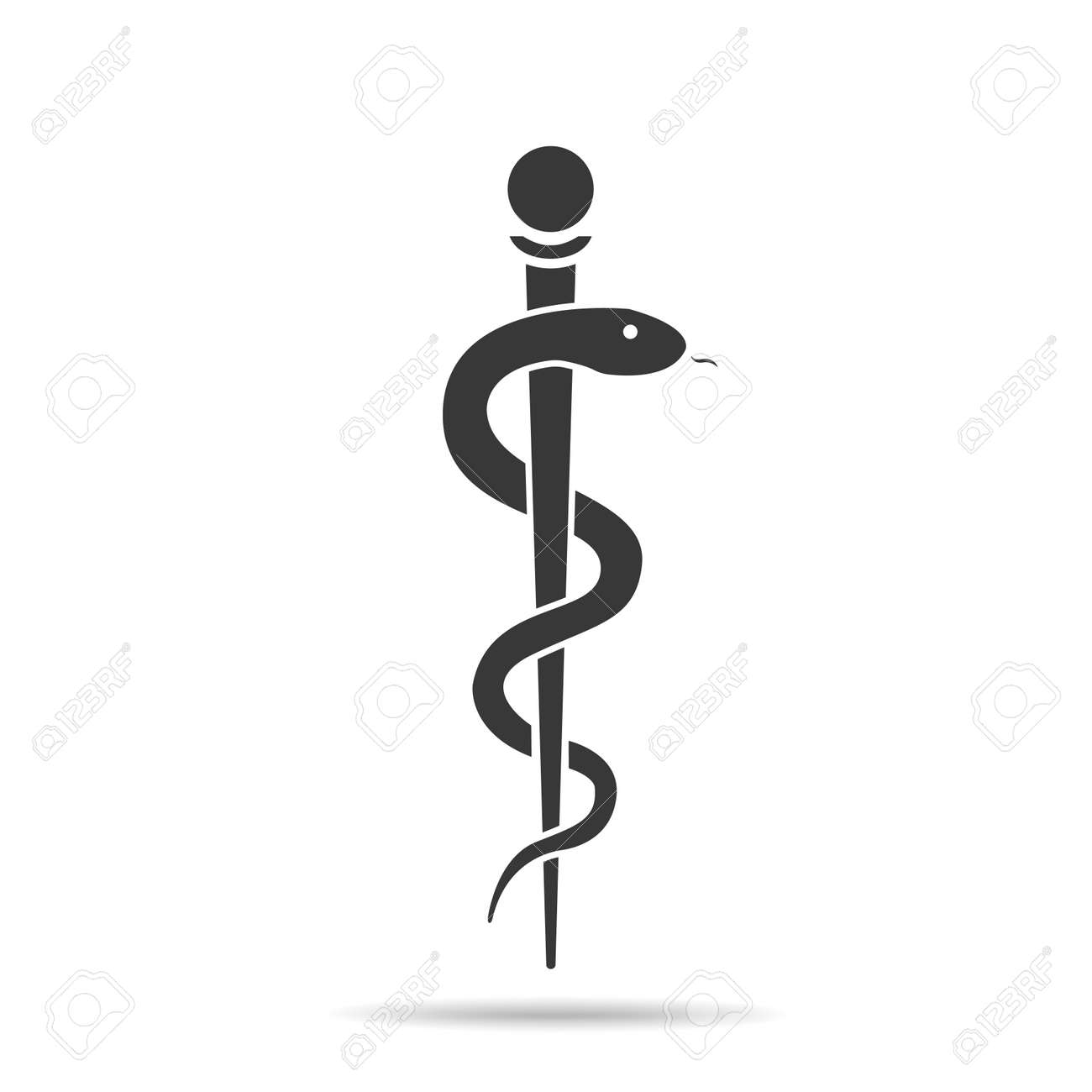 Medical symbol created using snakes and green leaves, Caduceus symbol. Healthy lifestyle is strong heart, vector abstract illustration - 149188660