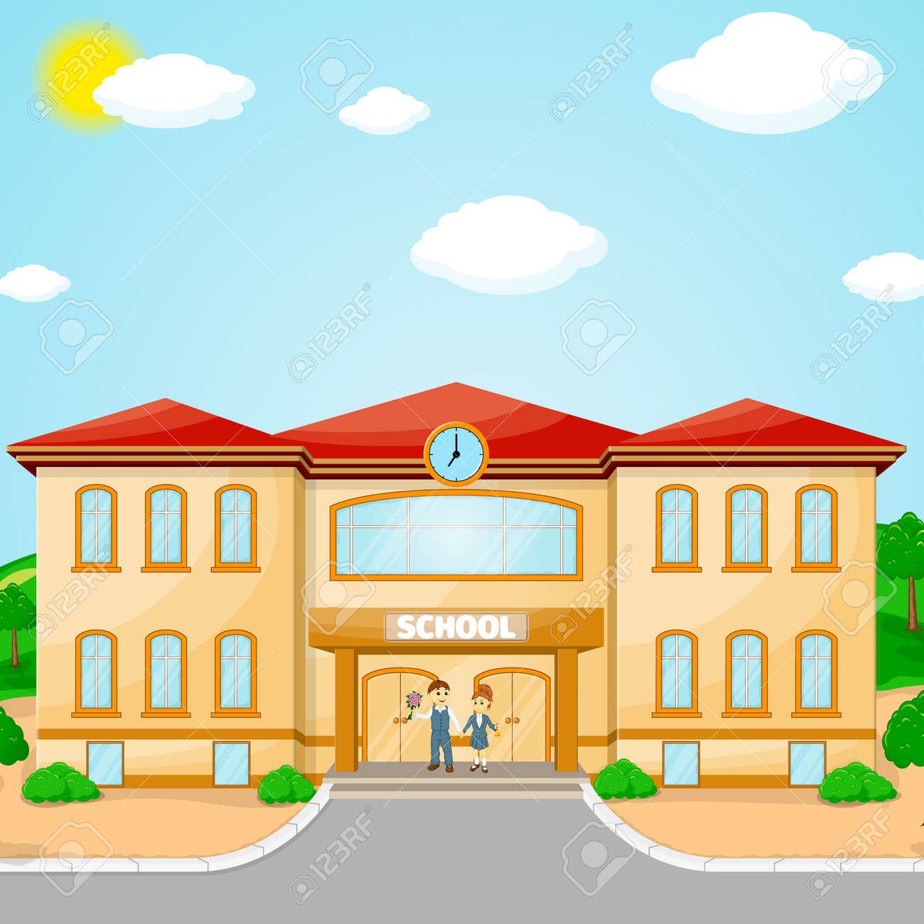 横断幕やポスターのデザインを学校へ戻るのための校舎のイラスト の写真