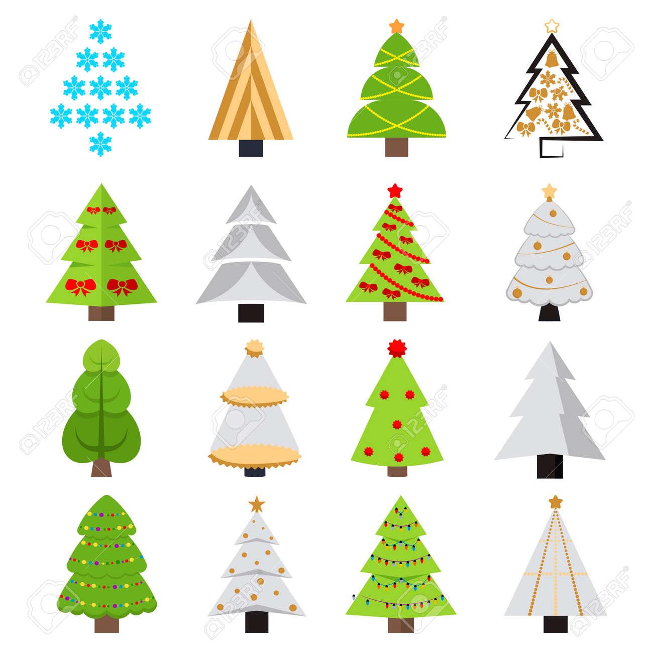 Biglietti Di Natale On Line.Insieme Di Diversi Alberi Di Natale Illustrazione Vettoriale Puo Essere Utilizzato Per Biglietti Di Auguri Inviti Banner Web Design Divertente