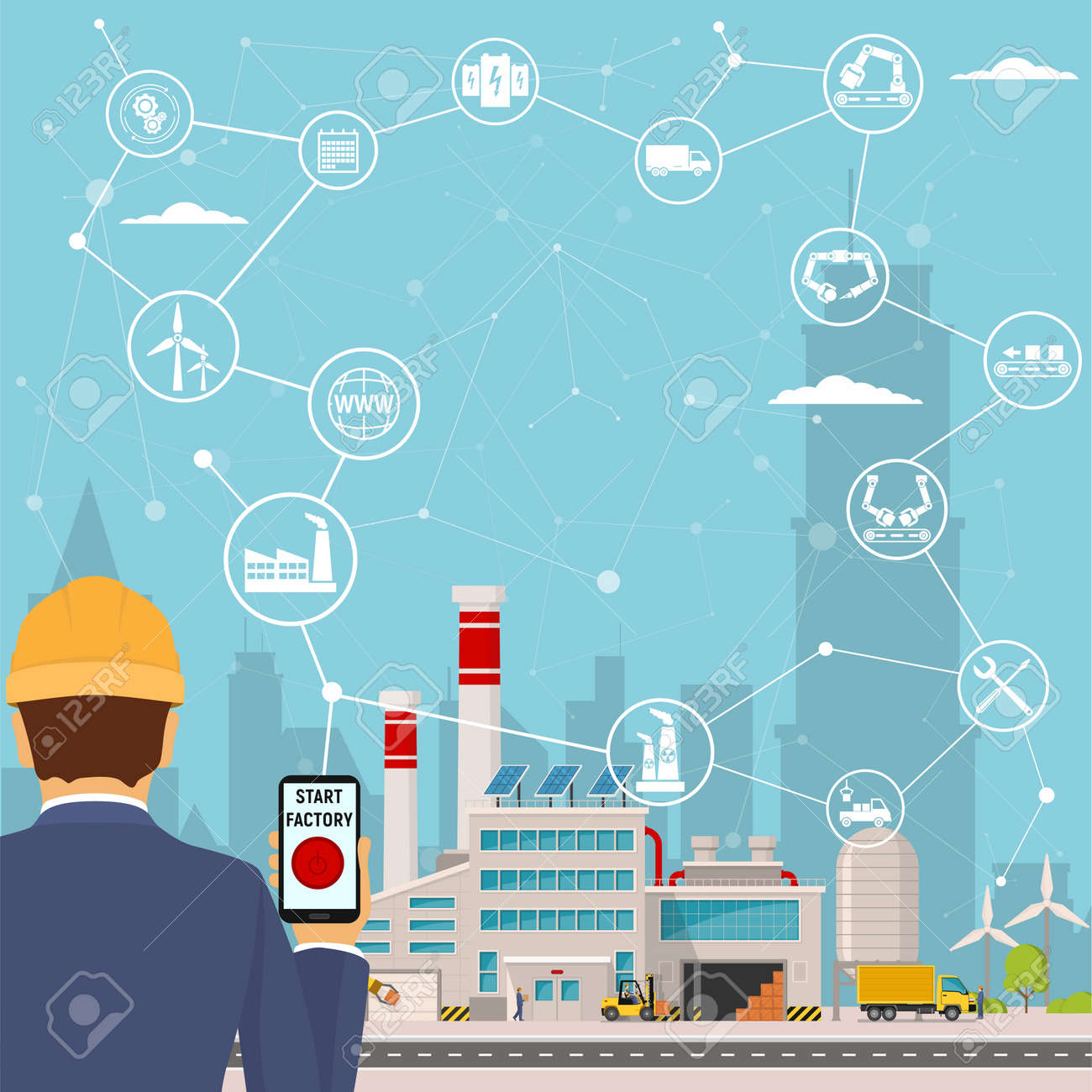 smart factory and around it icons Engineer starting a smart plant. Smart factory or industrial internet of things. vector illustration - 95049614
