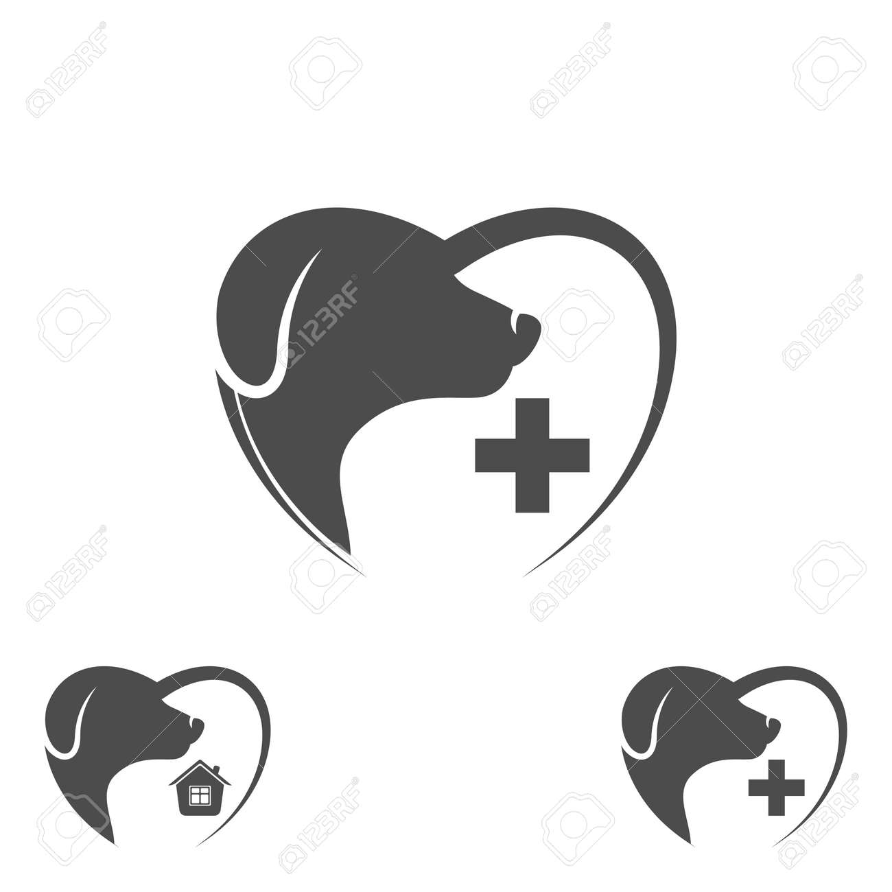 Dog In The Heart. Dog Icon Abstract Design Template. Dog Silhouette ...