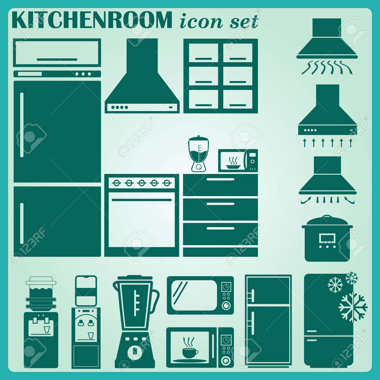 home interior design icon, kitchen icon, dining icon set, vector