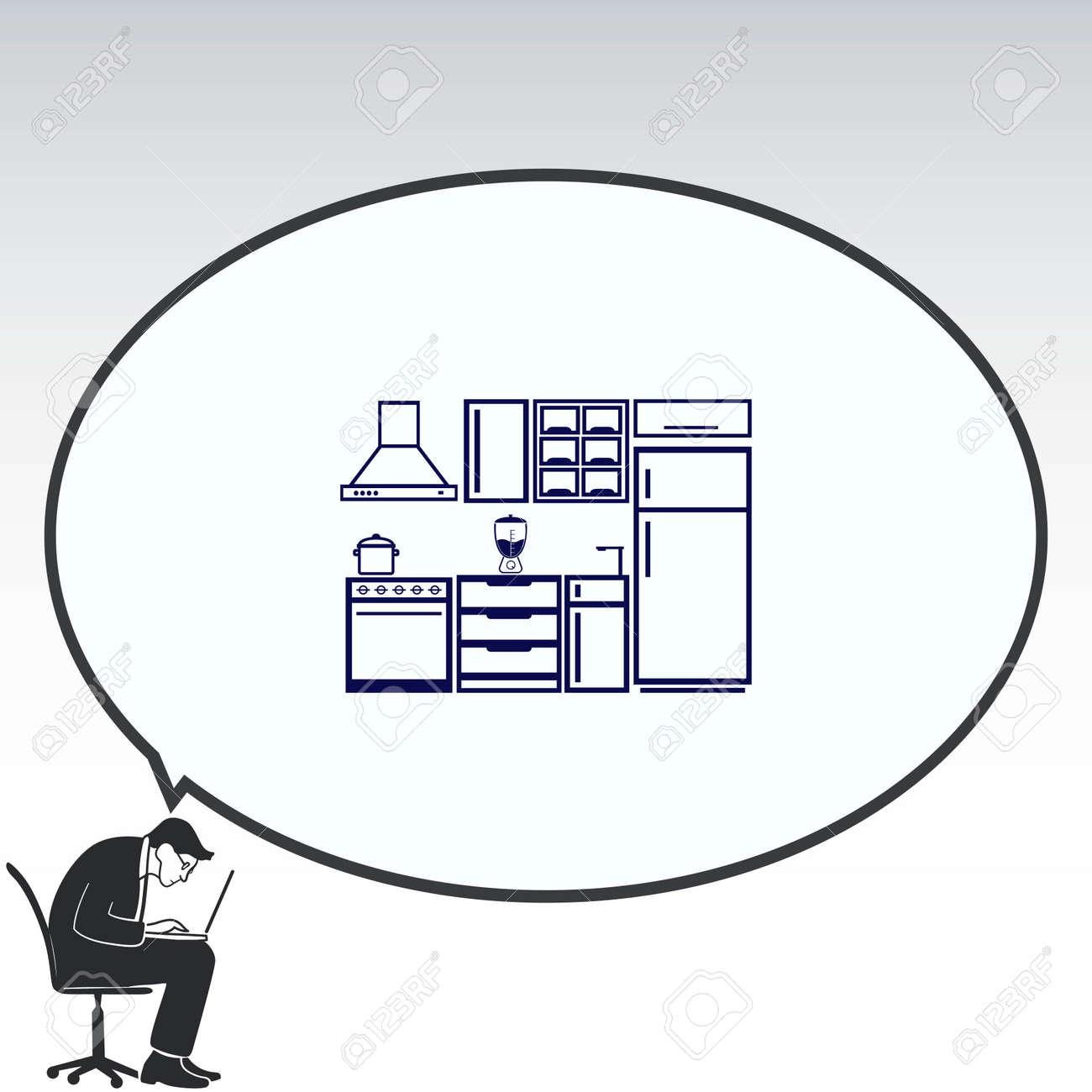 Home Interior Design Icon, Kitchen Icon, Dining Icon, Vector Illustration.  Flat Design