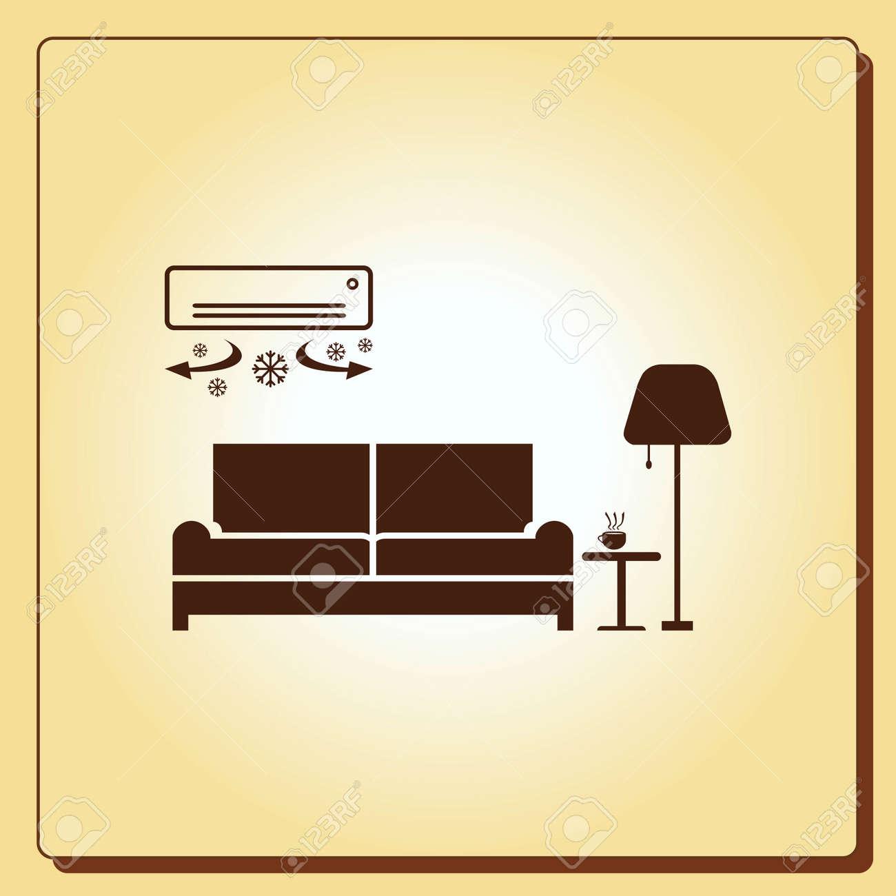 Home Interior Design Icon Sofa Living Room Vector Illustration Flat