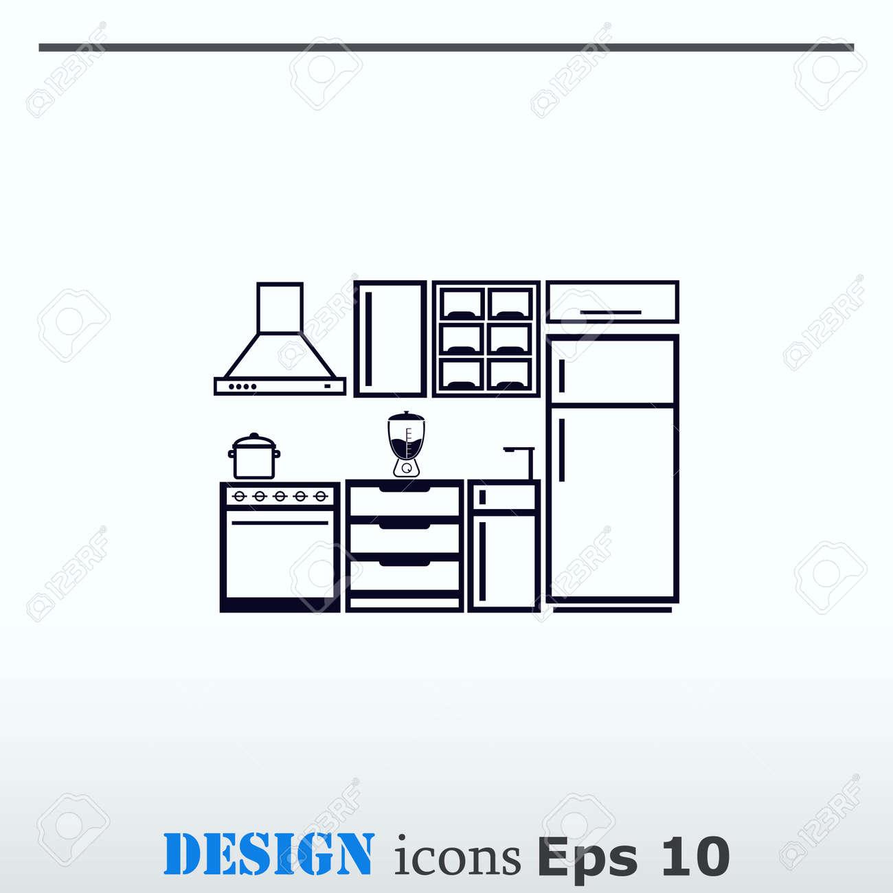 home interior design icon, kitchen icon, dining icon, vector..
