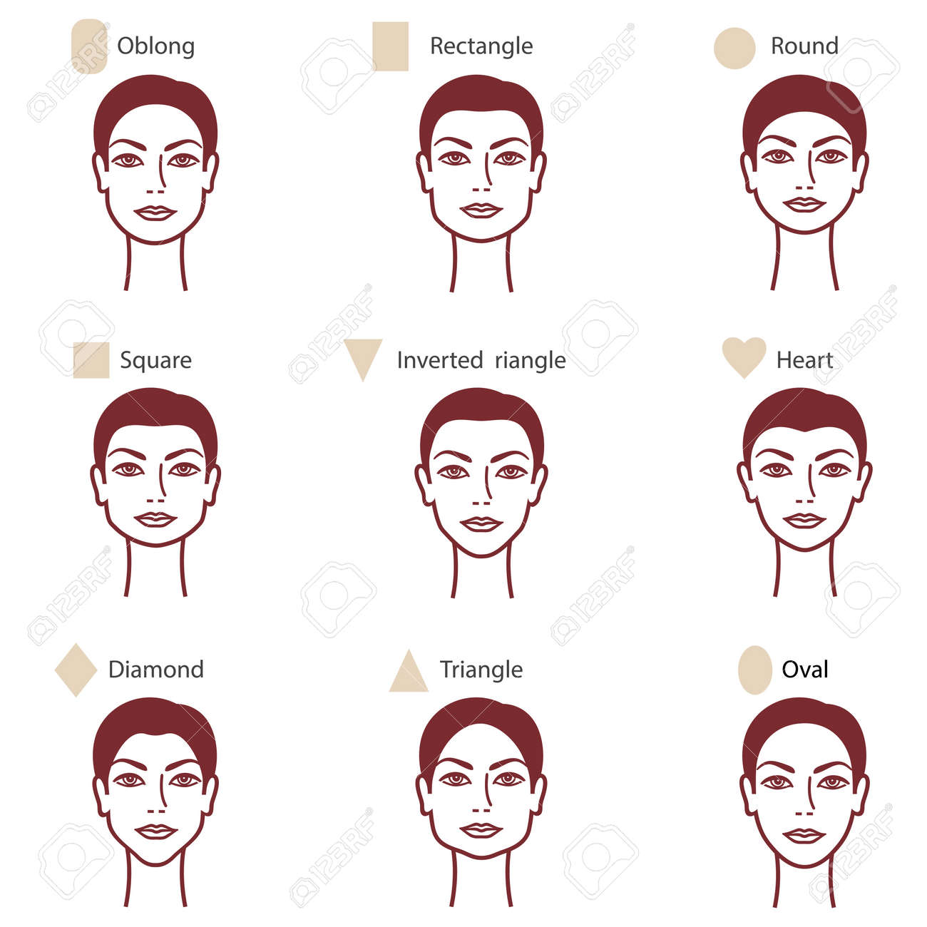 Set of different womans face shapes royalty free cliparts set of different womans face shapes stock vector 47904287 urmus Image collections