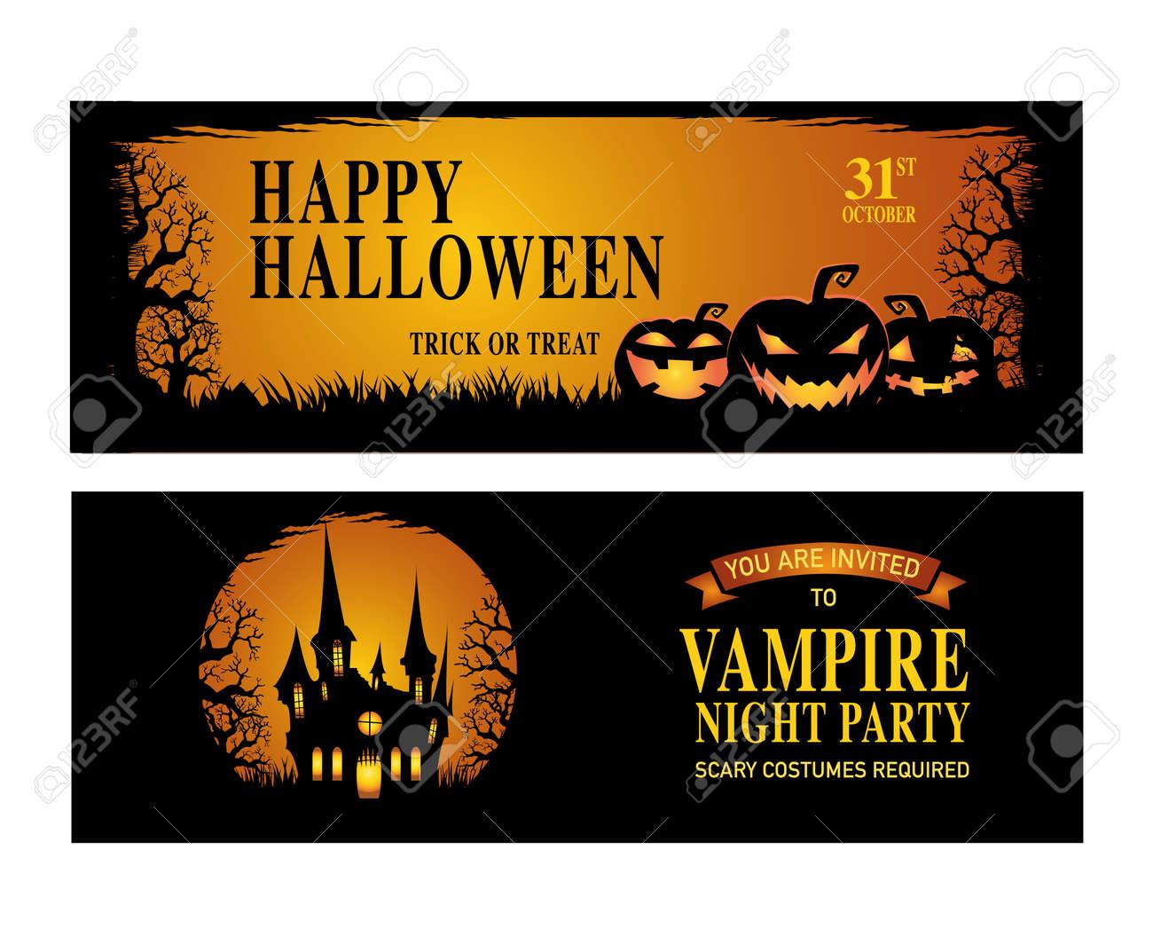 Halloween Party. Happy Halloween. Vector Illustration. Stock