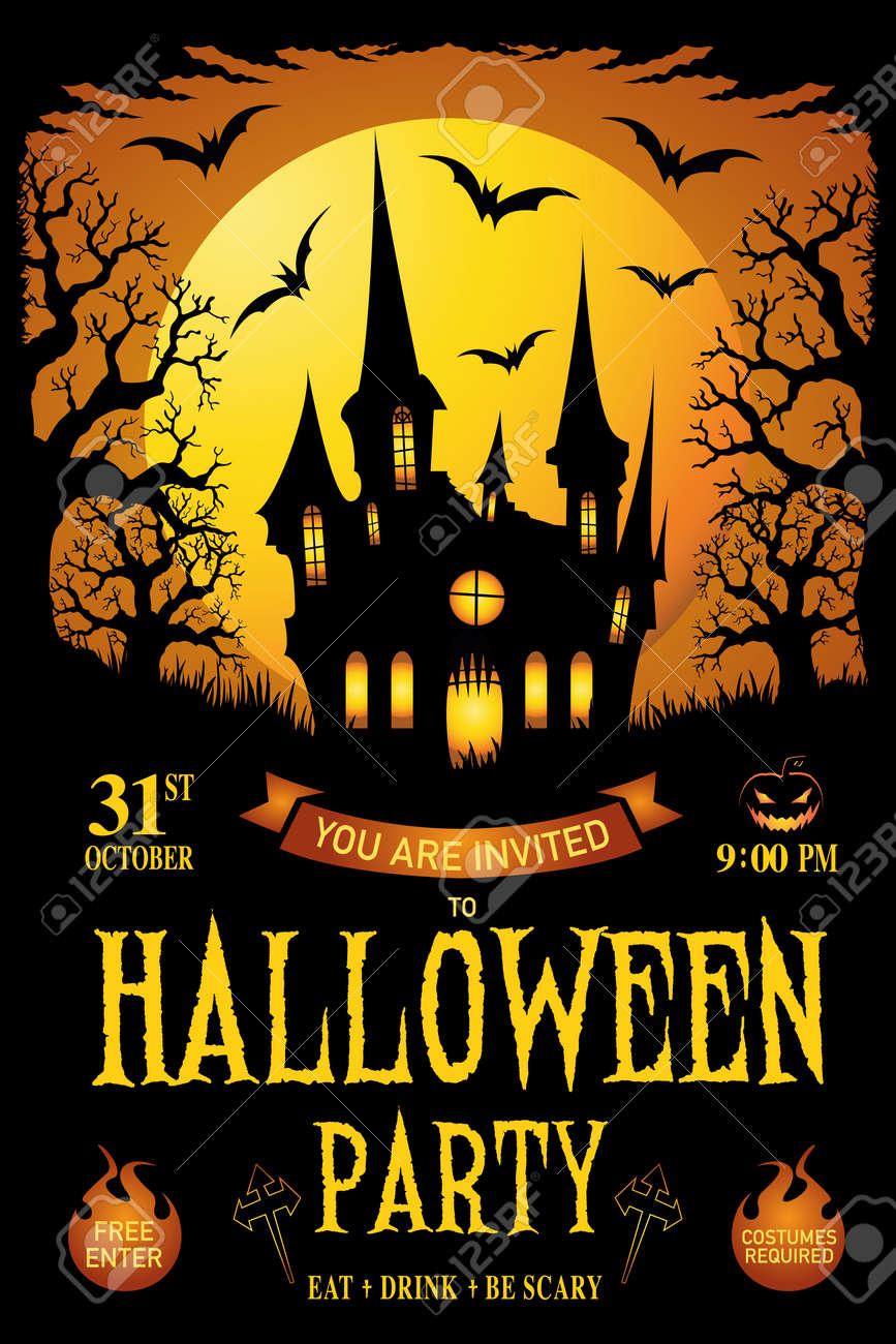 Halloween Poster Art.Halloween Trick Or Treat Vector Illustration Happy Halloween