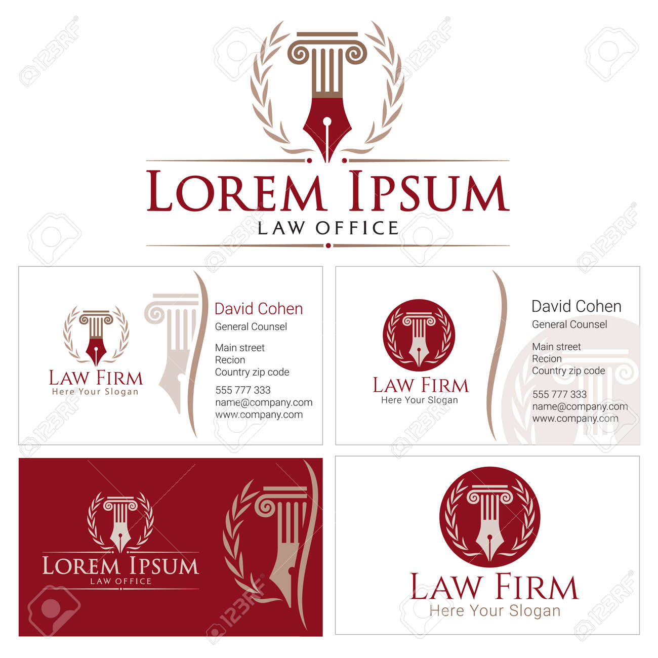 law with column and wreath in golden colors business card design