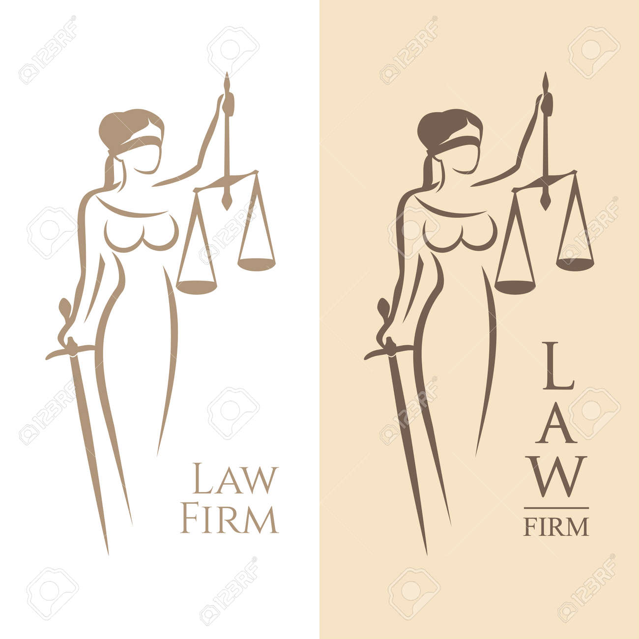 illustration of Themis statue holding scales balance and sword isolated on white background and silhouette on colored background. Symbol of justice, law and order - 67563627