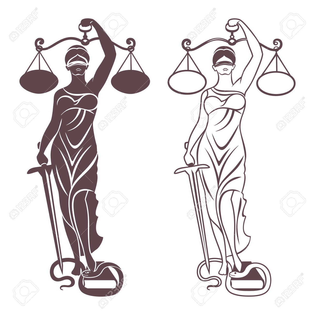 Lady Justice Themis Vector Illustration Silhouette Of Themis