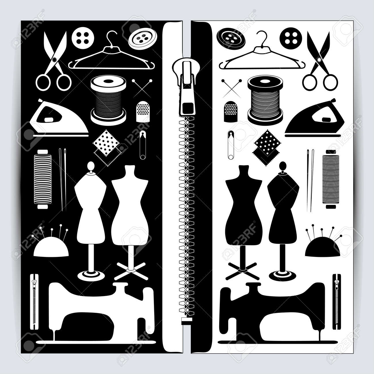 Set of sewing tools, Contains such icons as sewing machine, fabric,
