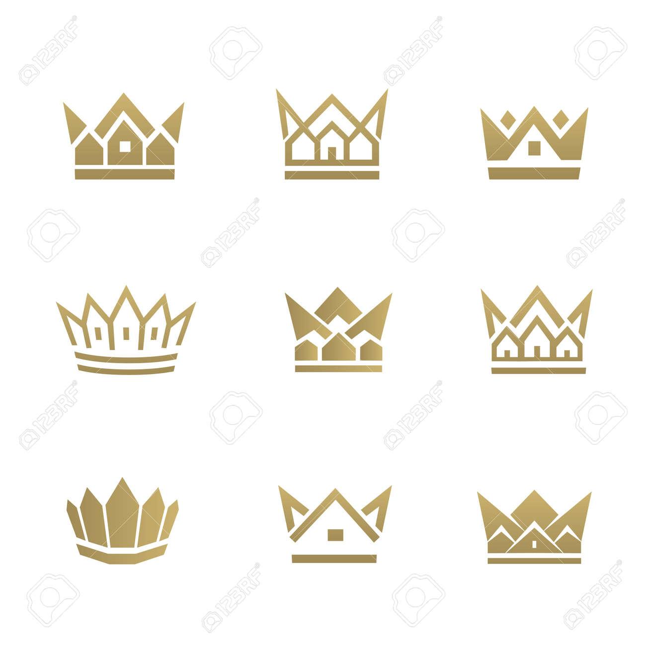 Goldene Hauslinie Symbol. Kann Für Grundstück, Wohnung, Wohneigentum ...