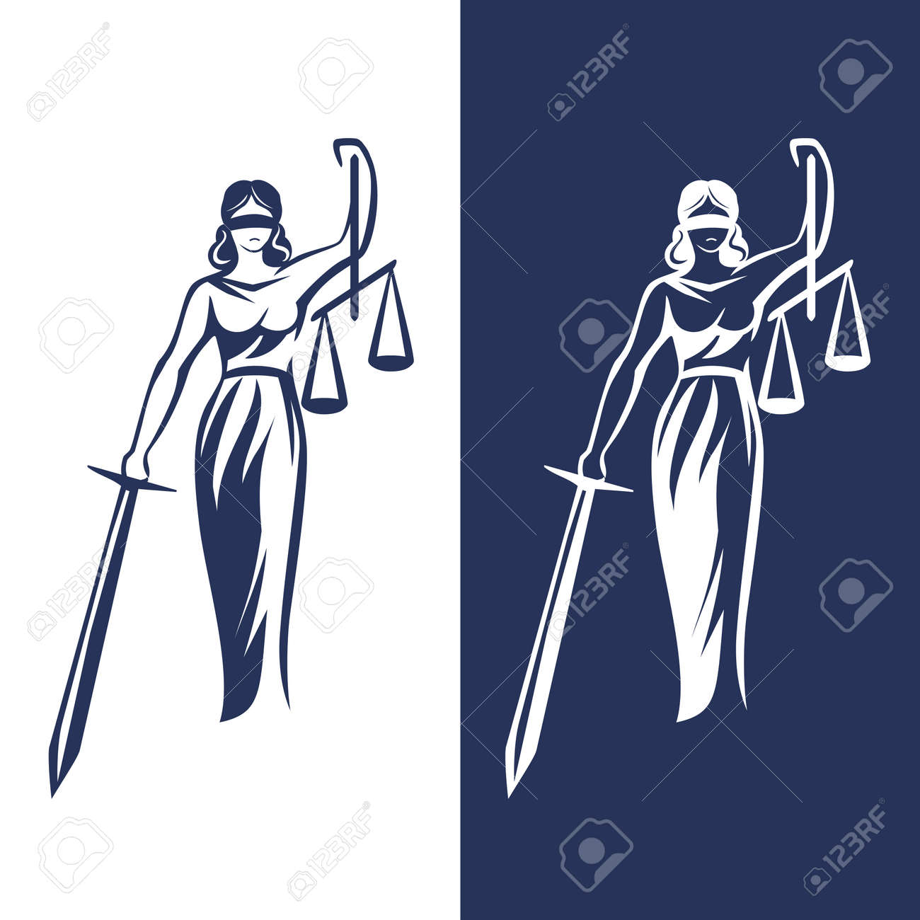 lady justice statue on light and dark background, Vector illustration. - 96637229