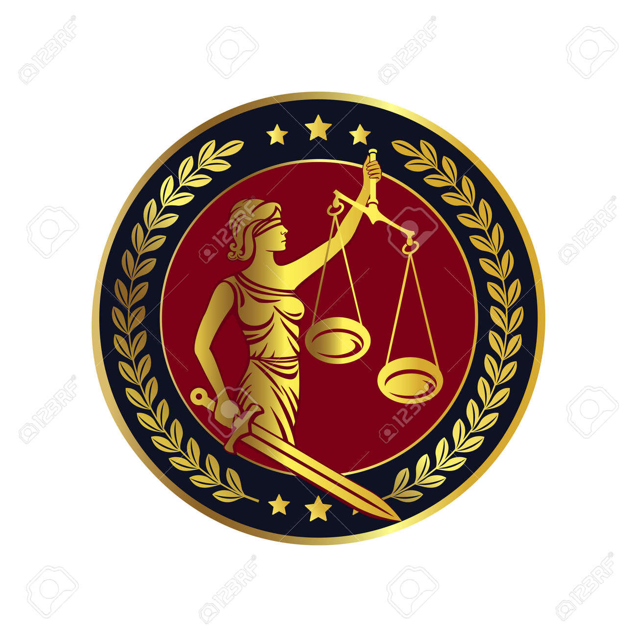 Lady justice, Themis with sword and scales. Fair trial Law. Femida. Blindfolded lady. Logo or label for law firm. Vector illustration. - 139226140