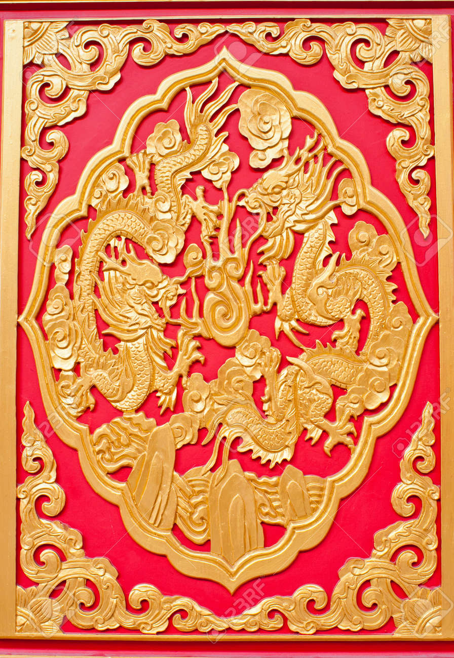 Chinese style dragon art wall Stock Photo - 12657525