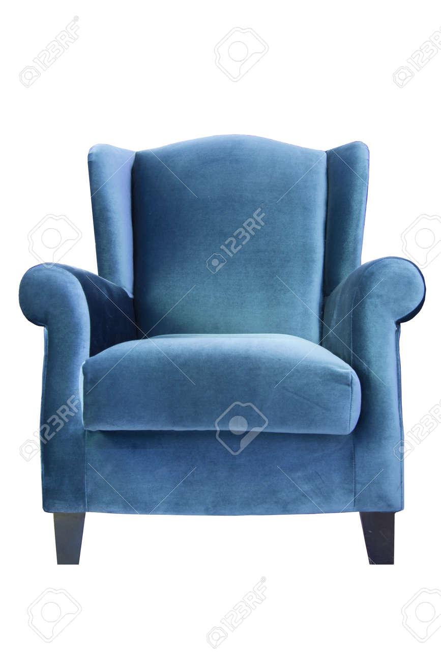 Blue sofa isolate on white background Stock Photo - 14737367