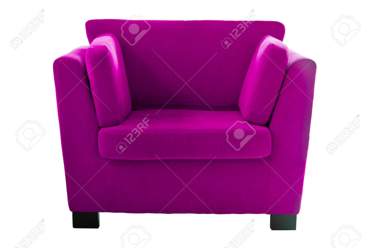 Pink Sofa Isolate On White Background Stock Photo   14737370