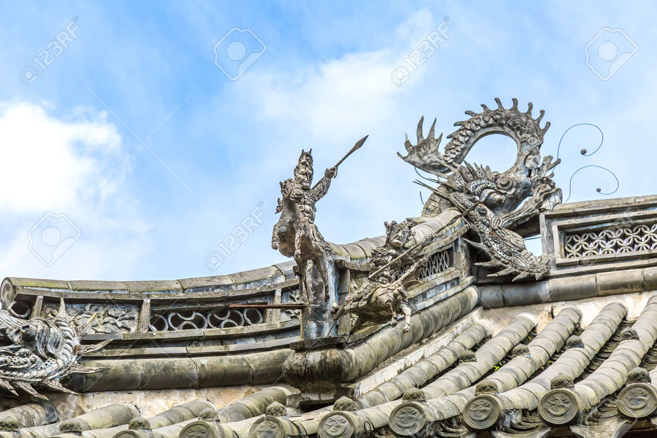 close up to the details of chinese architectural roof stock photo