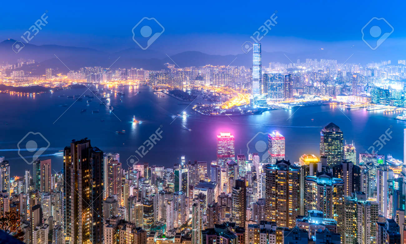 Aerial view of Hong Kong architecture landscape at night - 139636291