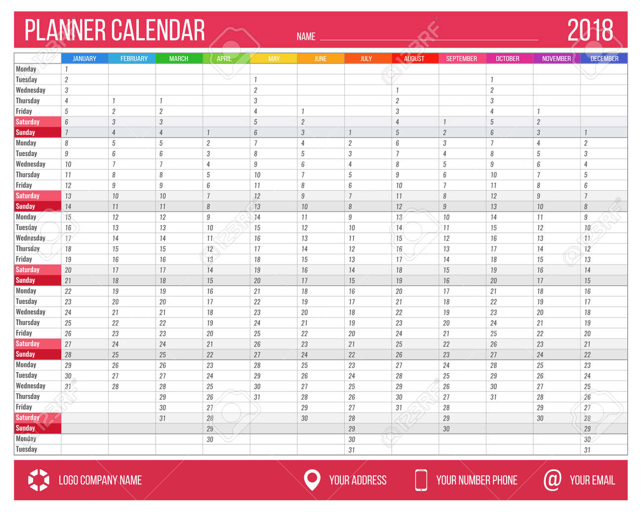 English calendar planner for year 2018  12 months, corporate