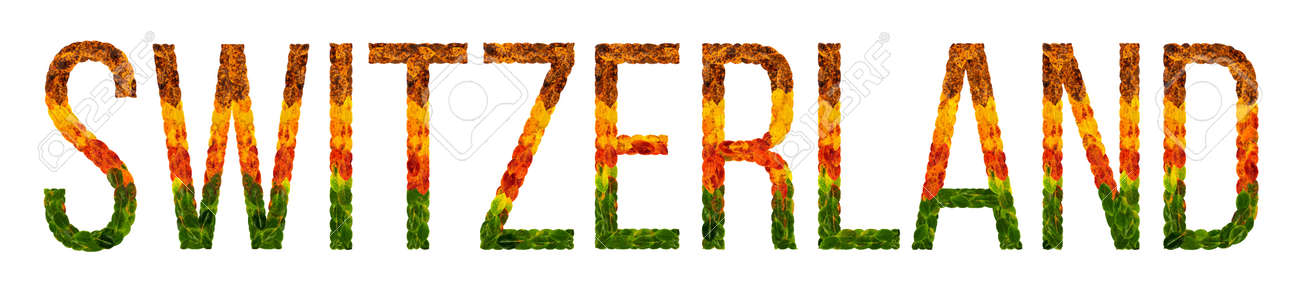 Switzerland Word Is Written With Leaves White Isolated Background