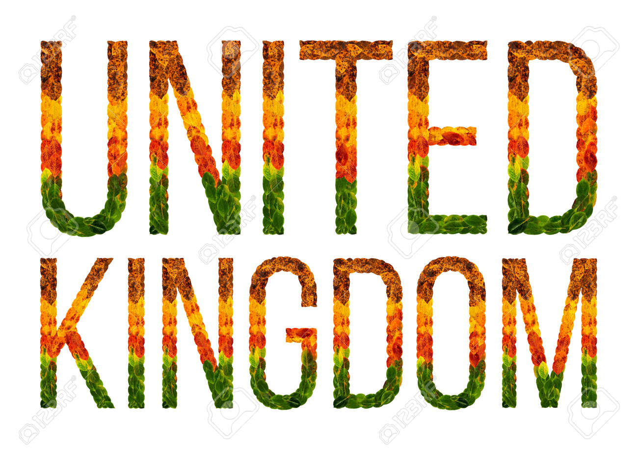 United Kingdom Word Is Written With Leaves White Isolated