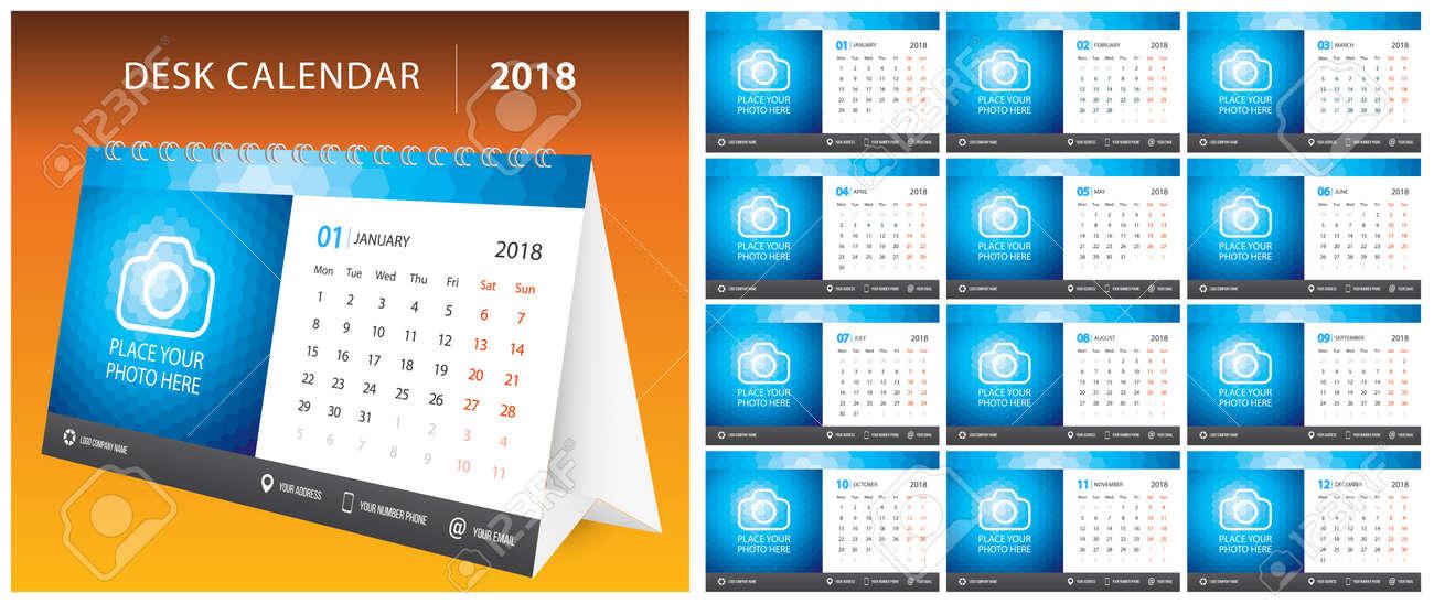 2018 Desk Calendar Week Start On Monday Set Of 12 Months