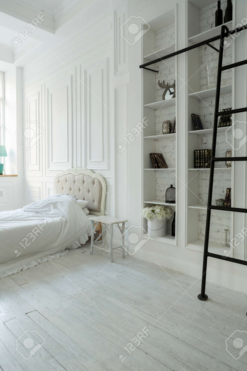 Stylish luxury white bedroom interior design in soft day light with elegant classic furniture - 156681729
