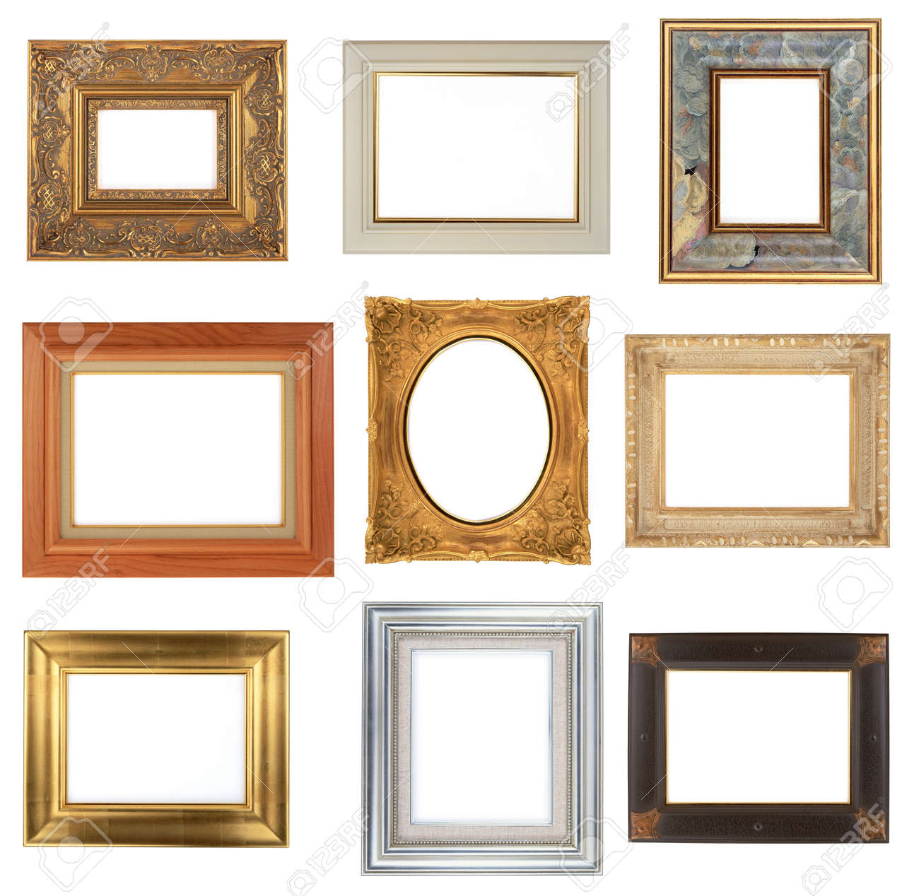 Photo Frame Isolated On White Background, 9 Different Frames Stock ...