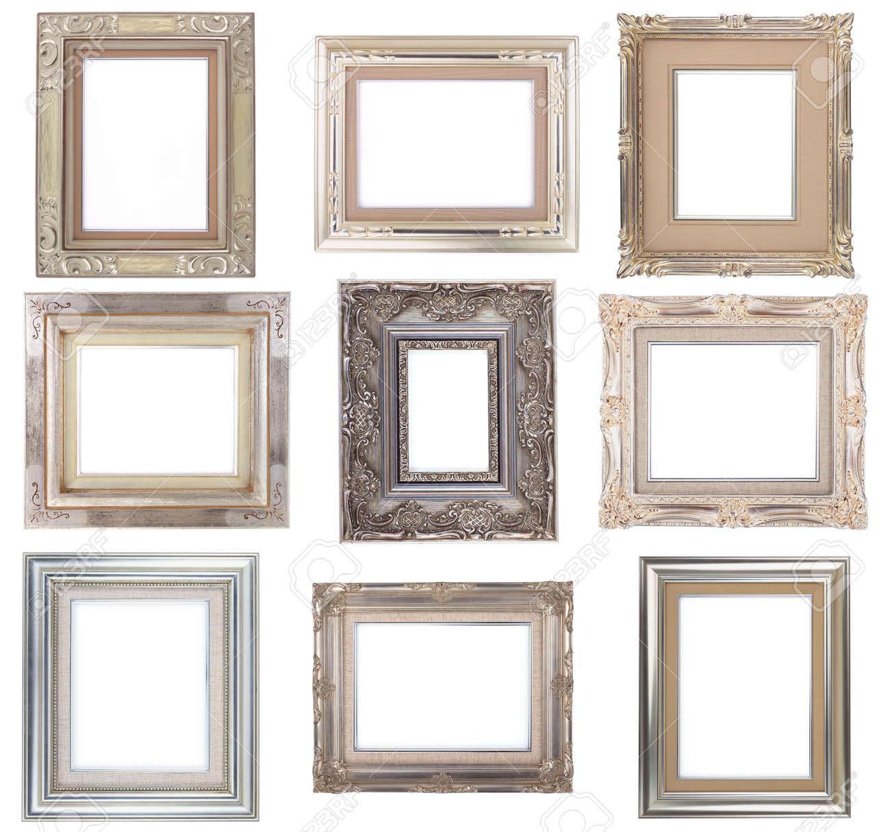 silber frames gesetzt, antik bilderrahmen auf weißem hintergrund