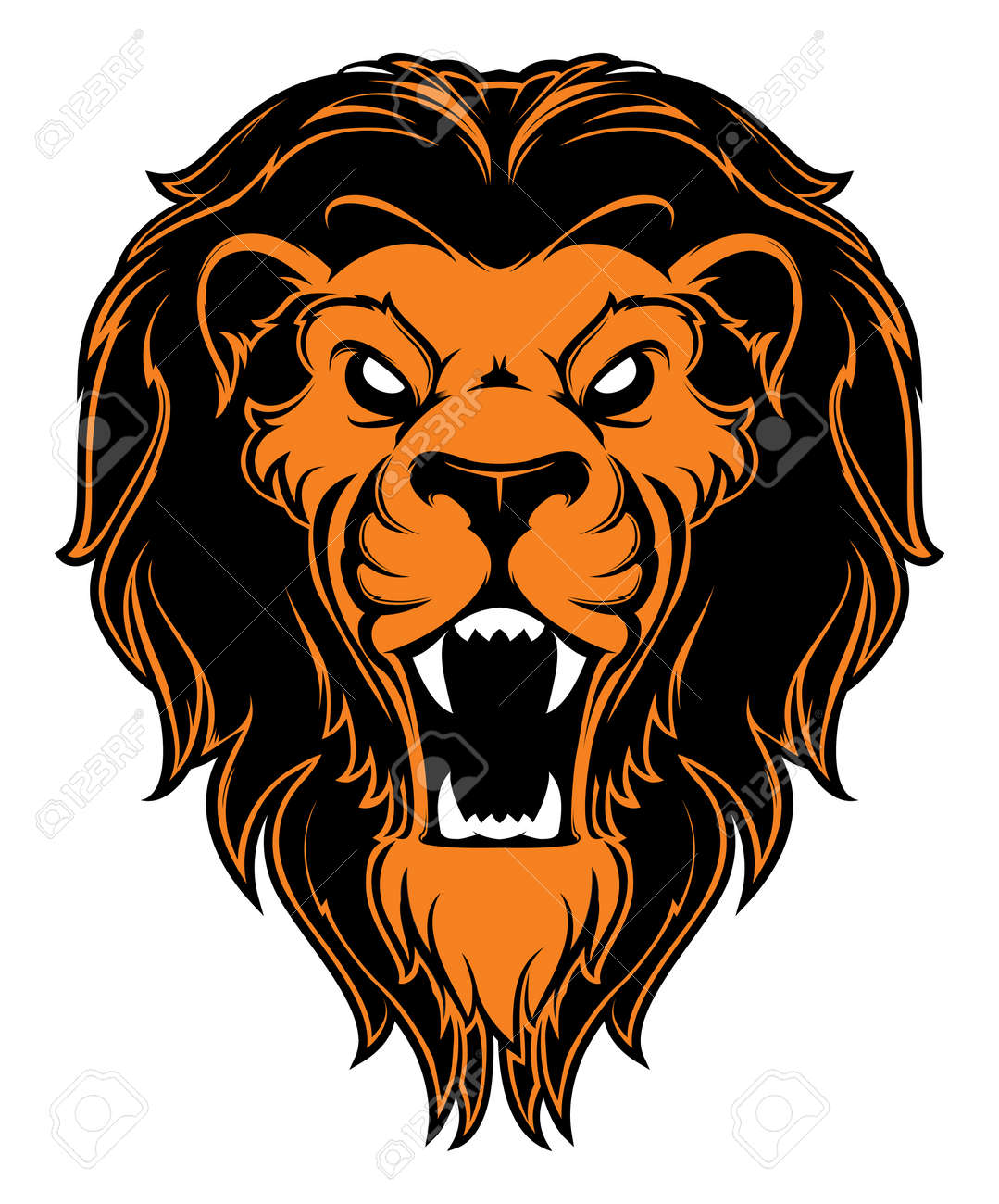 Roaring lion head mascot. Label. Isolated on white background - 133205666