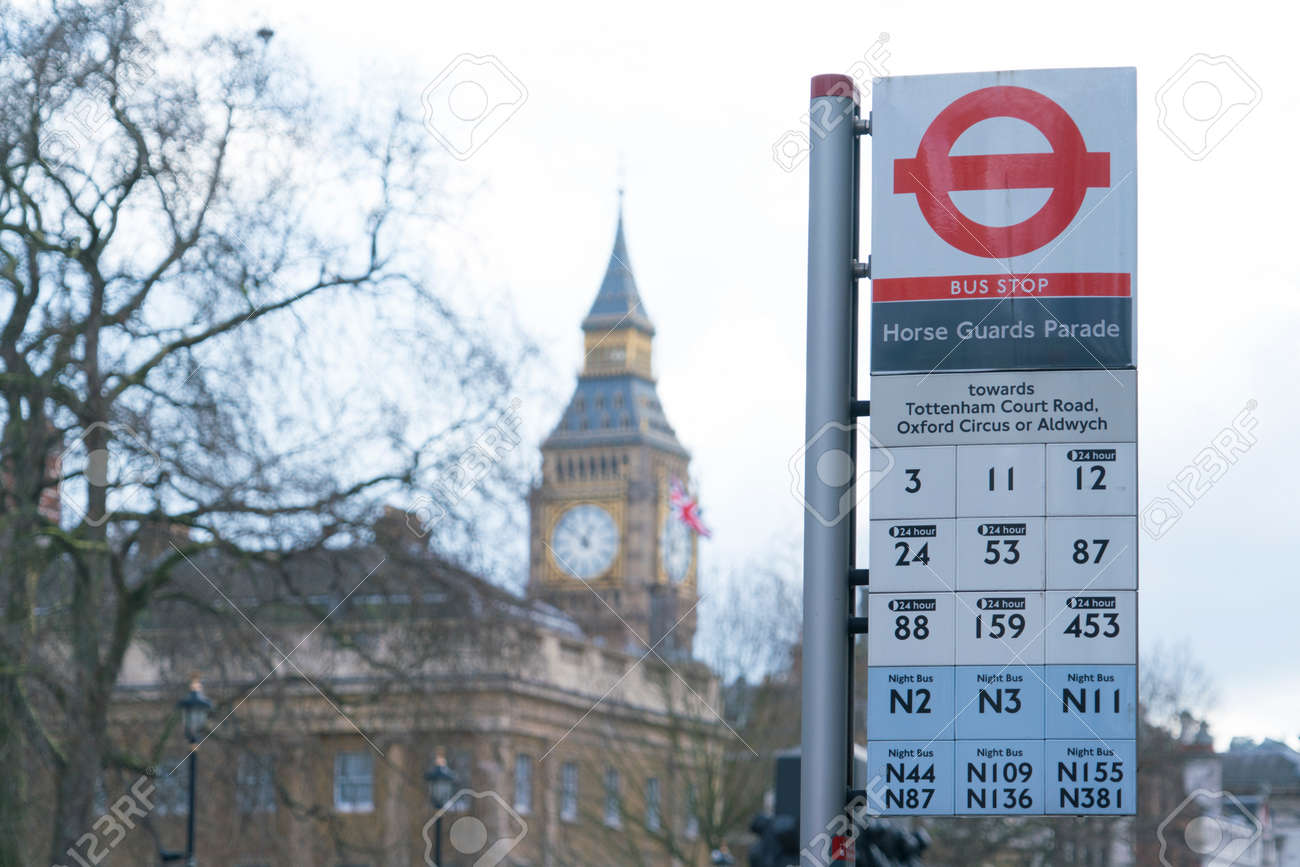 London Bus Stop Horse Guards Parade LONDON, ENGLAND - FEBRUARY 22, 2016 - 53490635