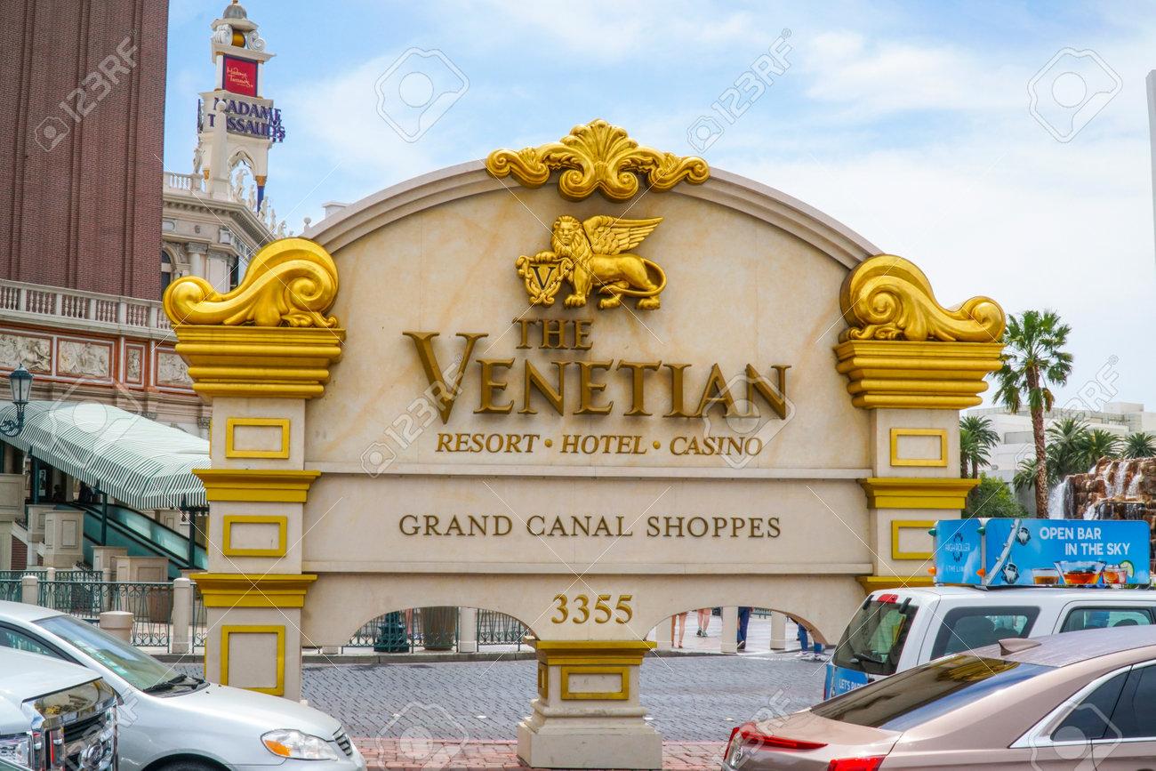 Golden Venetian sign at Hotel Entrance Las Vegas - LAS VEGAS
