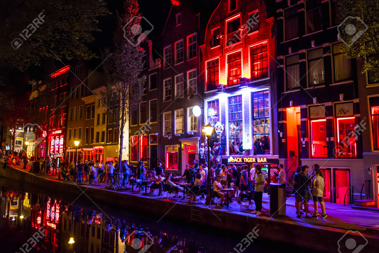 Colorful amsterdam the red light district at night amsterdam colorful amsterdam the red light district at night amsterdam the netherlands july aloadofball Image collections