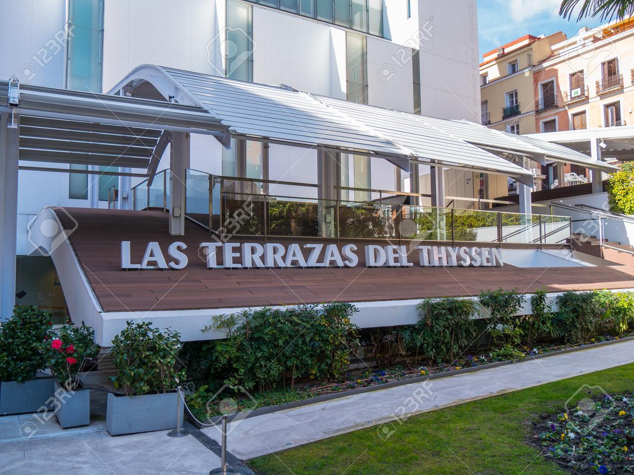 Terrace Of Thyssen Bornemisza Museum In Madrid Madrid Spain