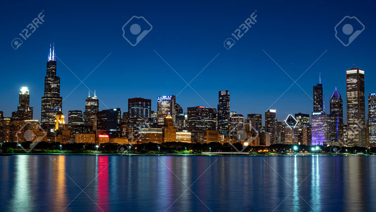The Skyline of Chicago at night - 125148750