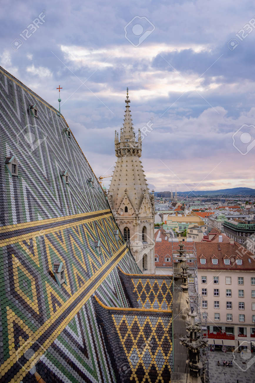 View over the city of Vienna from the top of St Stephans Cathedral - VIENNA, AUSTRIA, EUROPE - AUGUST 1, 2021 - 173492639