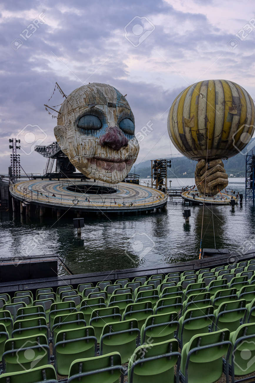 The Rigoletto floating stage on Lake Constance at Bregenz Performing Arts Festival - BREGENZ, AUSTRIA, EUROPE - JULY 28, 2021 - 173492637