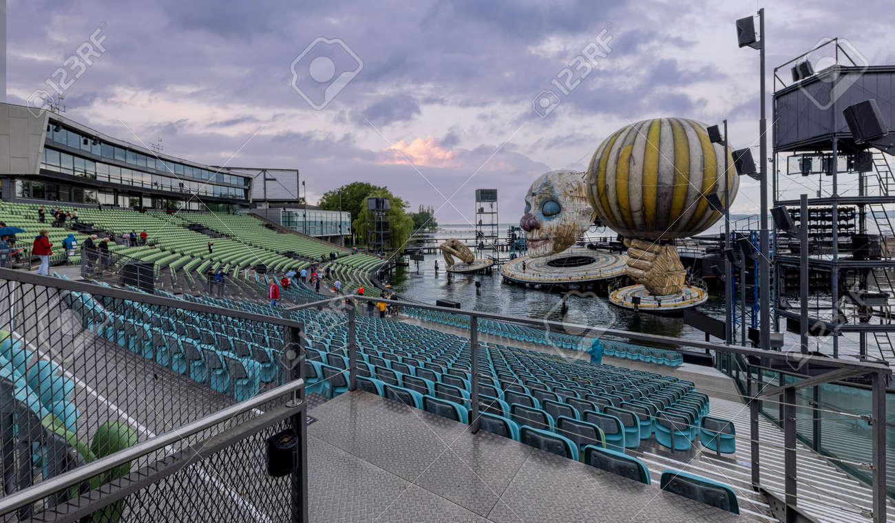 The Rigoletto floating stage on Lake Constance at Bregenz Performing Arts Festival - BREGENZ, AUSTRIA, EUROPE - JULY 28, 2021 - 173492636