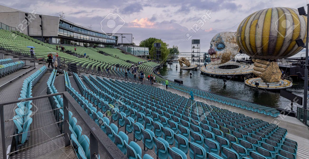 The seating stands at Open Air Bregenz Performing Arts Festival - BREGENZ, AUSTRIA, EUROPE - JULY 28, 2021 - 173492630
