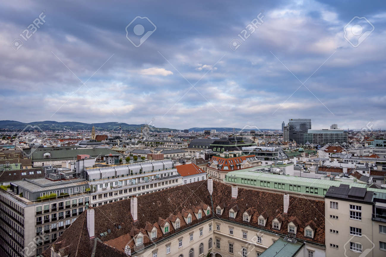 View over the city of Vienna from the top of St Stephans Cathedral - VIENNA, AUSTRIA, EUROPE - AUGUST 1, 2021 - 173492613