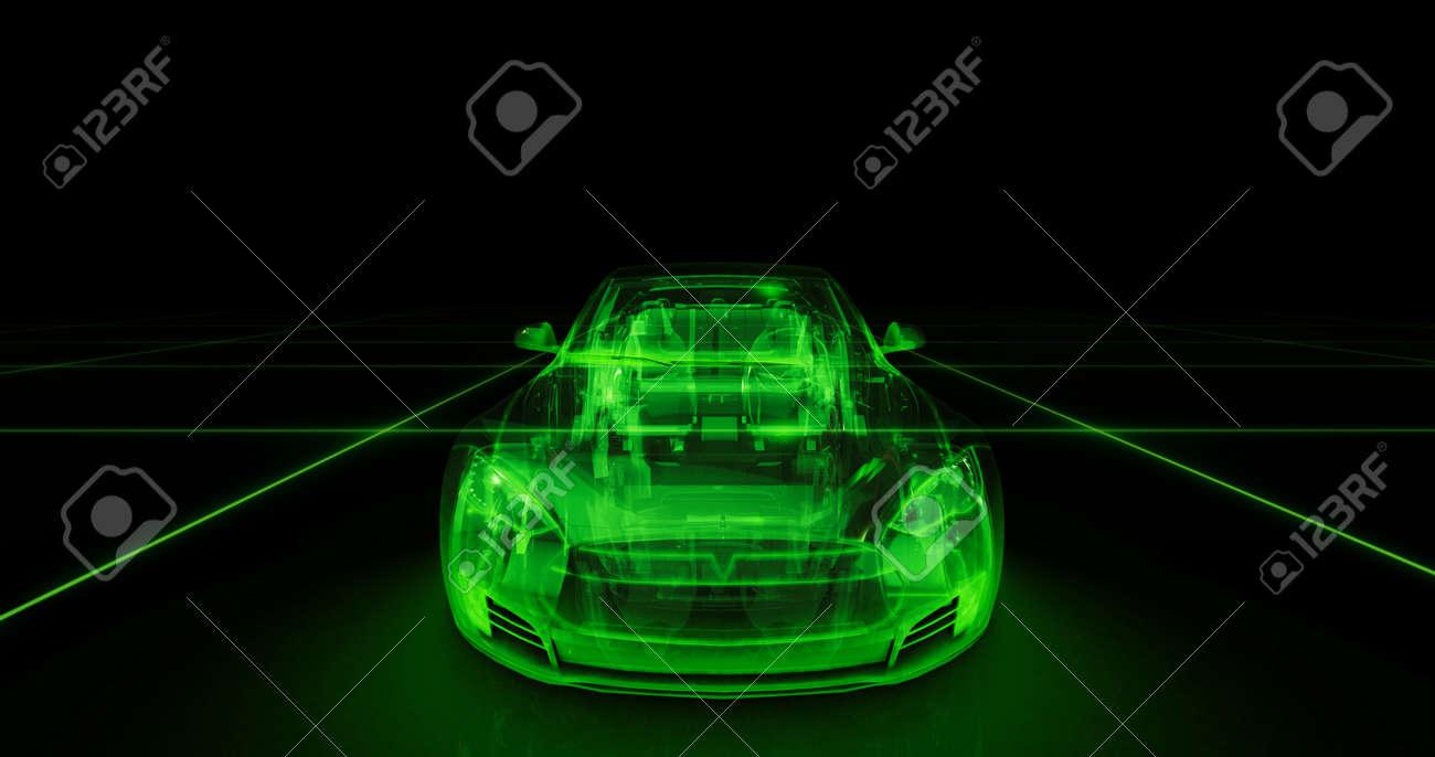 Sport Auto Drahtmodell Mit Grunen Neon Ob Schwarzem Hintergrund
