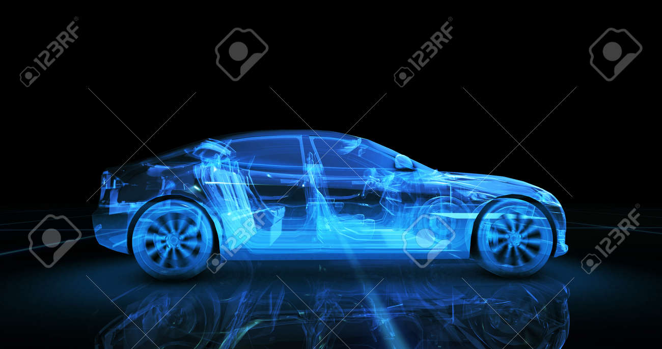 Sport car wire model with blue neon ob black background - 72039711
