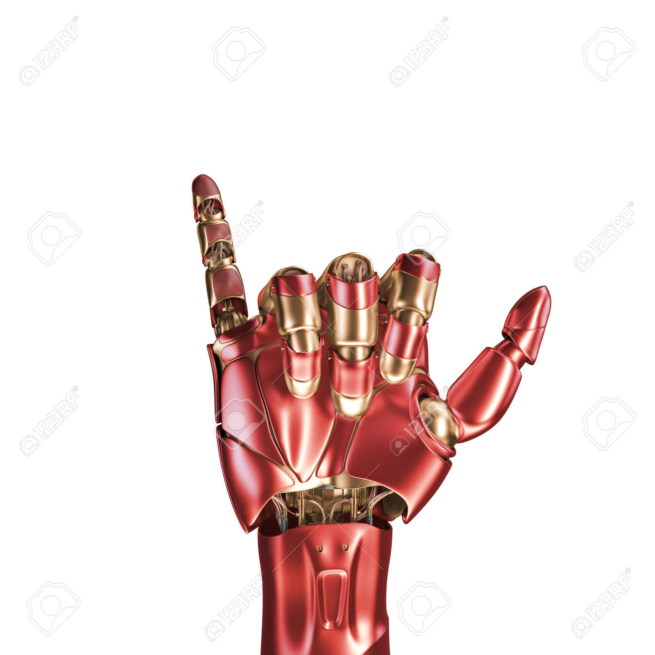 The Hand Of An Iron Man Red And Gold Coloring 3d Rendering