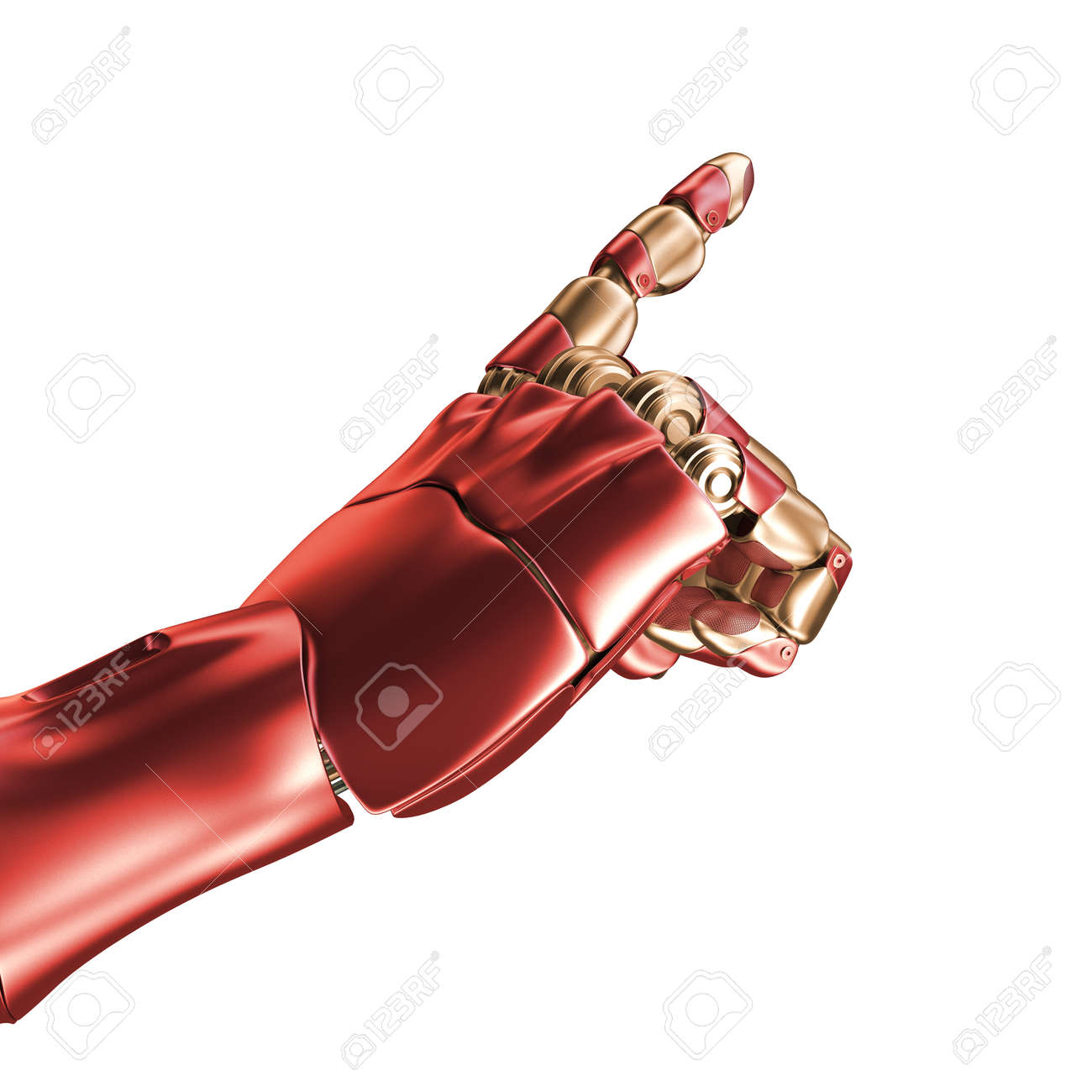 Stock Photo   The Hand Of An Iron Man. Red And Gold Coloring. 3d Rendering.  Template Isolated On White Background.