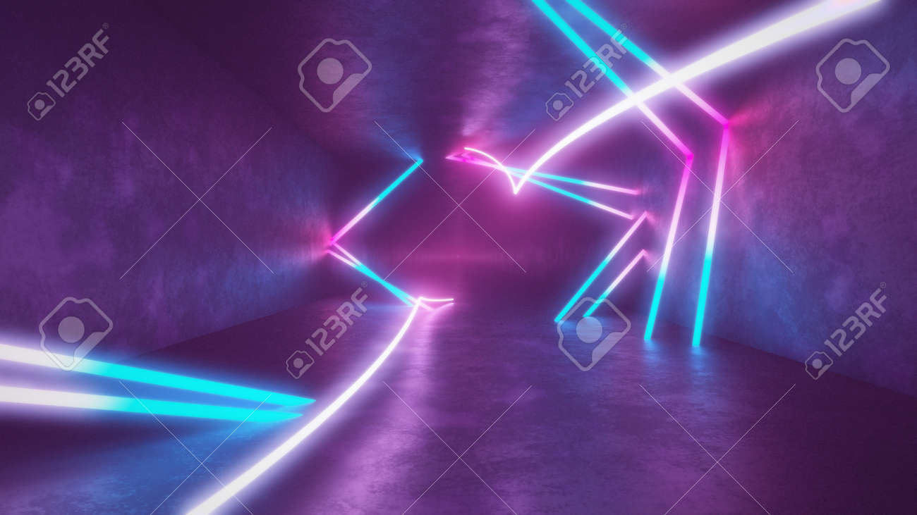 4k 3d render, looped animation tunnel, abstract seamless background, fluorescent ultraviolet light, glowing neon lines, moving forward inside endless tunnel, blue pink spectrum, modern colorful illumination. Ultra HD. 3840x2160 - 133775556